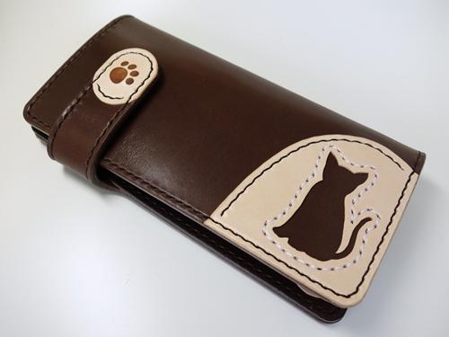 ボックス型小銭入れ付き サドルレザー(ヌメ革)猫ロングウォレット、長財布 lw6